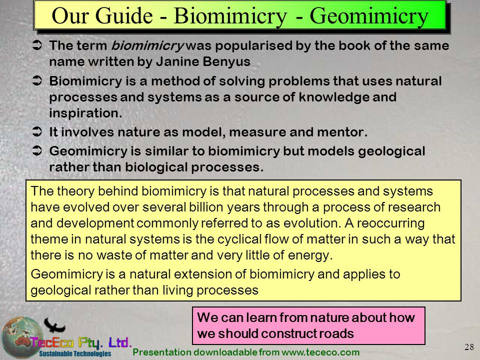Presentation downloadable from www.tececo.com 28 Our Guide - Biomimicry - Geomimicry The term biomimicry was popularised by the book of the same name