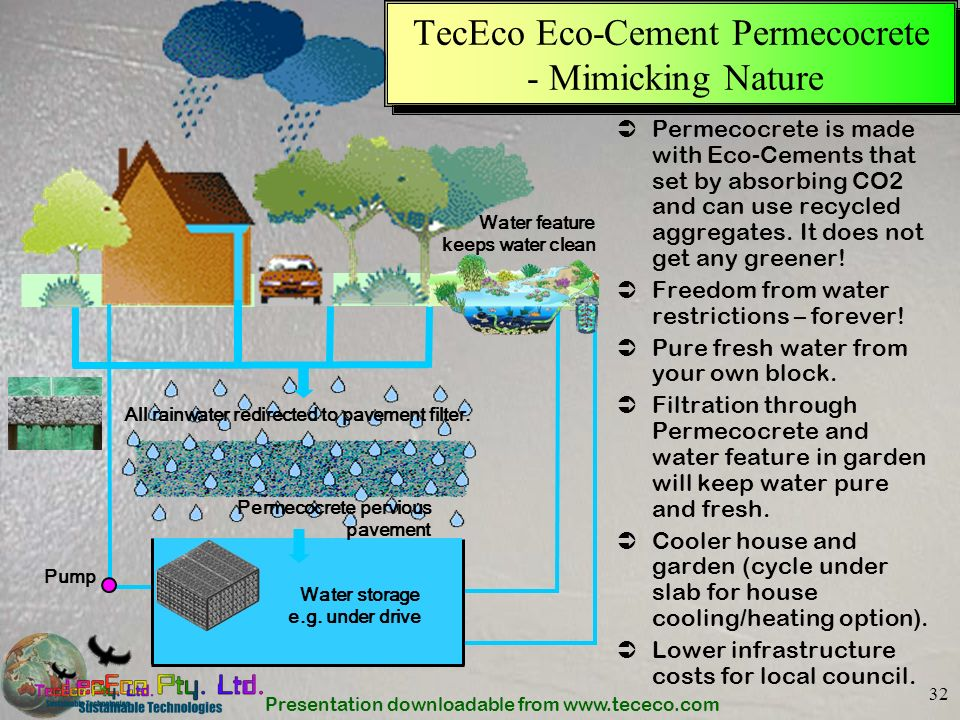 Presentation downloadable from www.tececo.com 32 TecEco Eco-Cement Permecocrete - Mimicking Nature Permecocrete is made with Eco-Cements that set by a