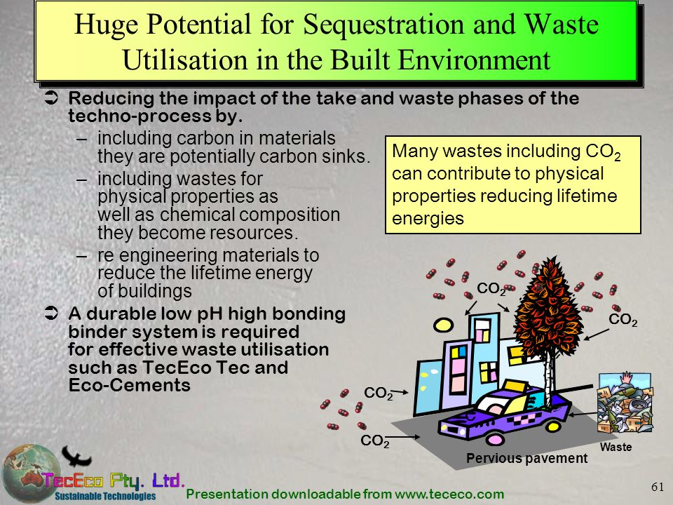Presentation downloadable from www.tececo.com 61 Huge Potential for Sequestration and Waste Utilisation in the Built Environment Reducing the impact o