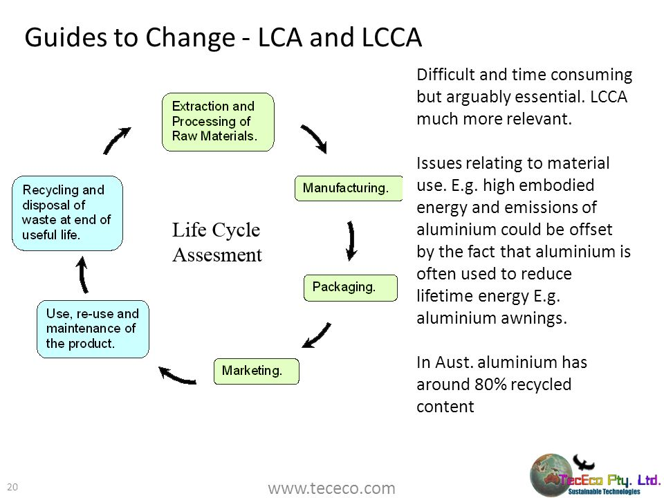 Guides to Change - LCA and LCCA 20 Difficult and time consuming but arguably essential. LCCA much more relevant. Issues relating to material use. E.g.