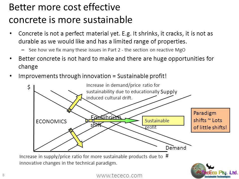 Better more cost effective concrete is more sustainable Concrete is not a perfect material yet. E.g. It shrinks, it cracks, it is not as durable as we