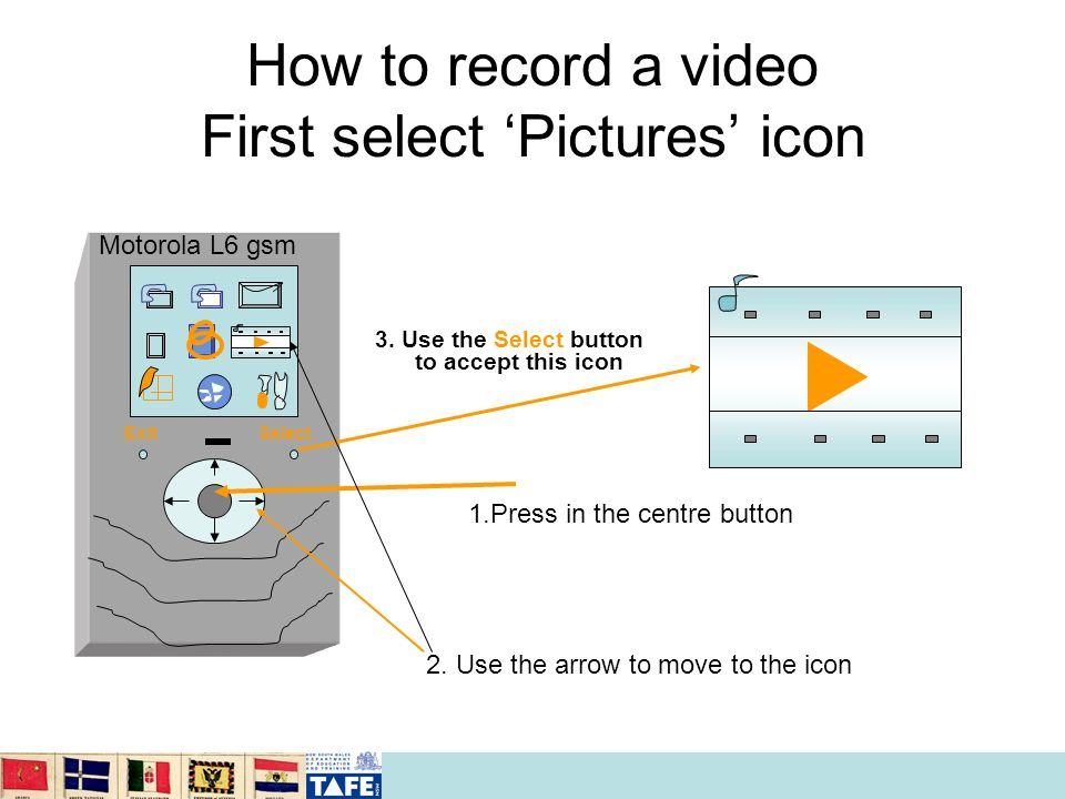 How to record a video First select Pictures icon 3. Use the Select button to accept this icon 1.Press in the centre button 2. Use the arrow to move to