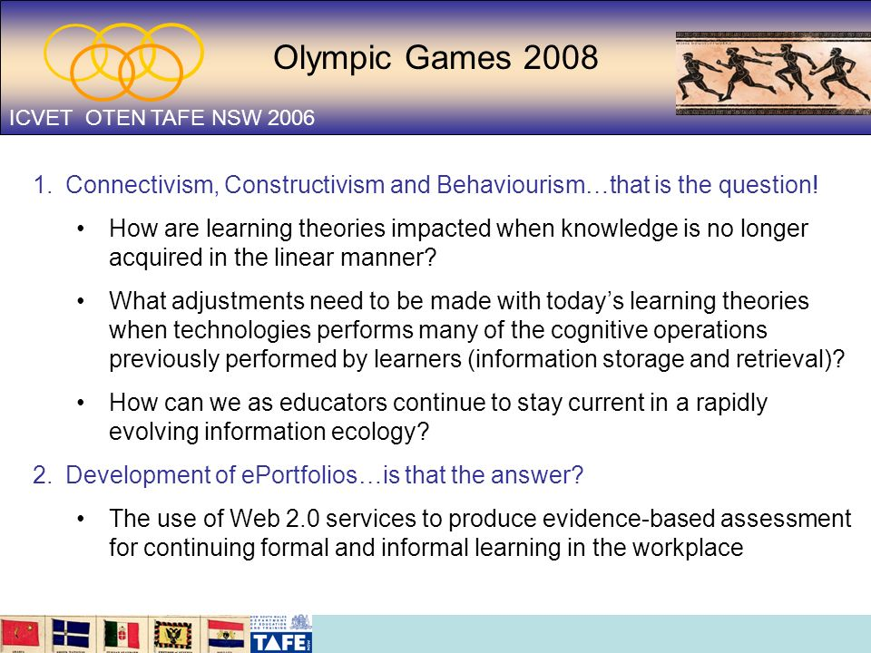 Olympic Games 2008 ICVET OTEN TAFE NSW 2006 1.Connectivism, Constructivism and Behaviourism…that is the question! How are learning theories impacted w