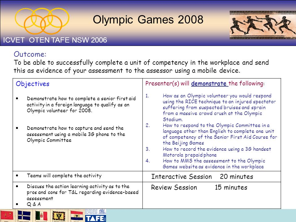 Olympic Games 2008 ICVET OTEN TAFE NSW 2006 Objectives Demonstrate how to complete a senior first aid activity in a foreign language to qualify as an