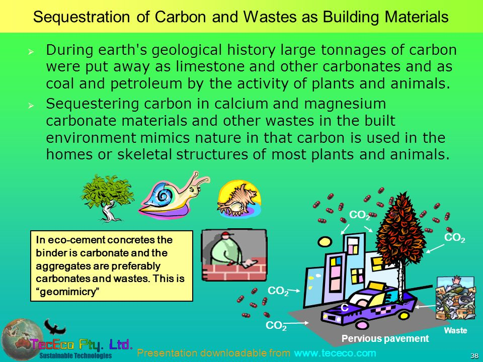 Presentation downloadable from www.tececo.com 38 Sequestration of Carbon and Wastes as Building Materials During earth s geological history large tonnages of carbon were put away as limestone and other carbonates and as coal and petroleum by the activity of plants and animals.