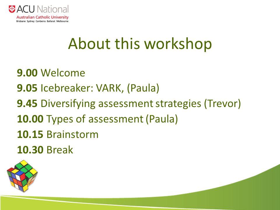 About this workshop 9.00 Welcome 9.05 Icebreaker: VARK, (Paula) 9.45 Diversifying assessment strategies (Trevor) 10.00 Types of assessment (Paula) 10.15 Brainstorm 10.30 Break