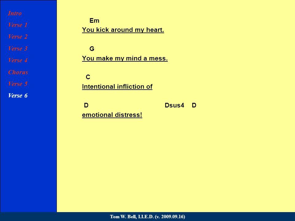 Intro Verse 1 Verse 2 Verse 3 Verse 4 Chorus Verse 5 Verse 6 Chorus Bridge Verse 7 Verse 8 Chorus Coda Tom W.