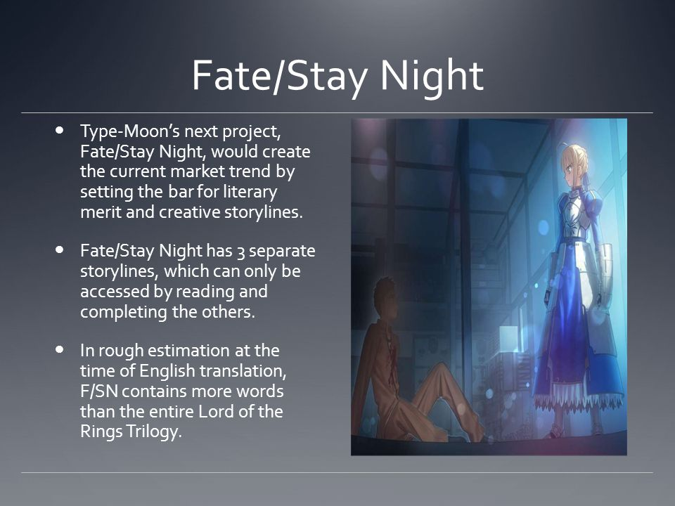 Fate/Stay Night Type-Moons next project, Fate/Stay Night, would create the current market trend by setting the bar for literary merit and creative storylines.
