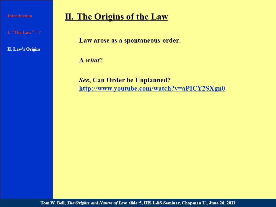 I. What is The Law ? 6.Some terminology. Introduction I. The Law = ? II. [text] III. [text] Conclusion Tom W. Bell, The Origins and Nature of Law, sli
