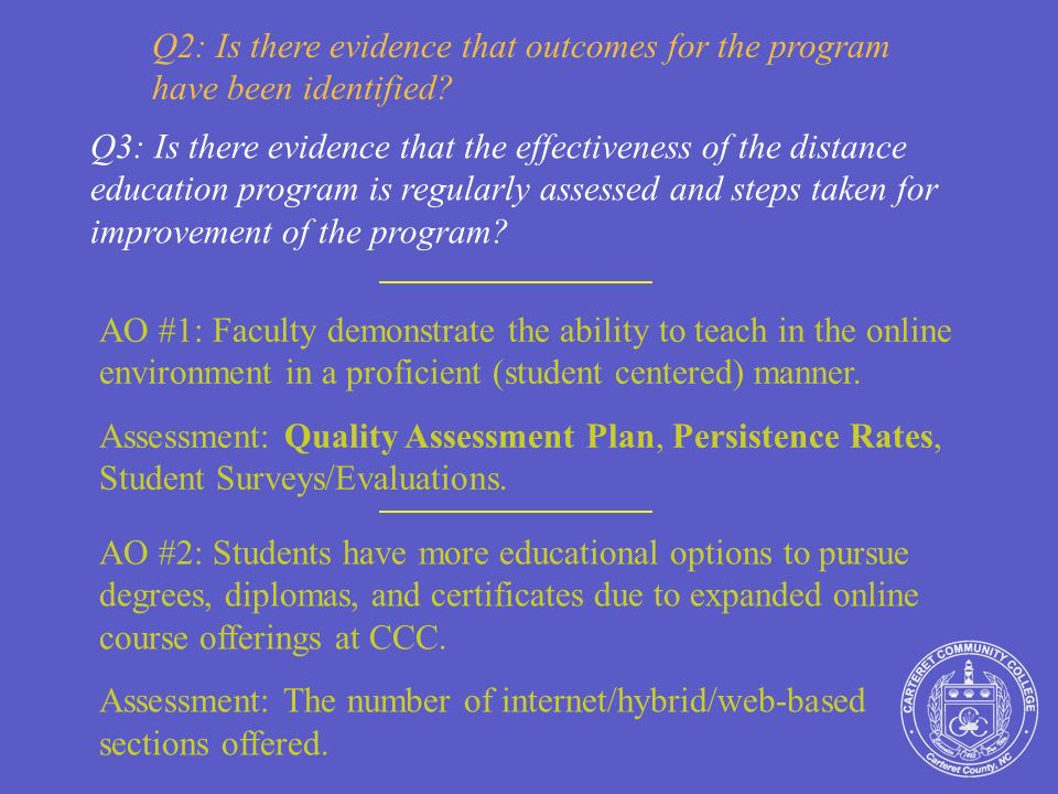 Q2: Is there evidence that outcomes for the program have been identified.