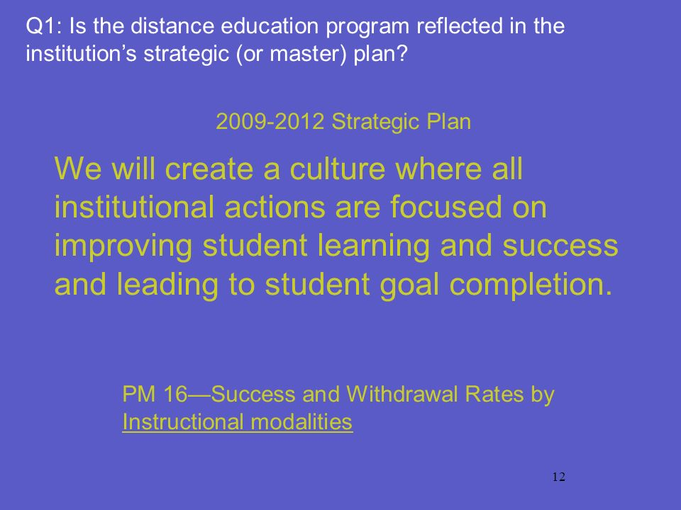 12 2009-2012 Strategic Plan We will create a culture where all institutional actions are focused on improving student learning and success and leading