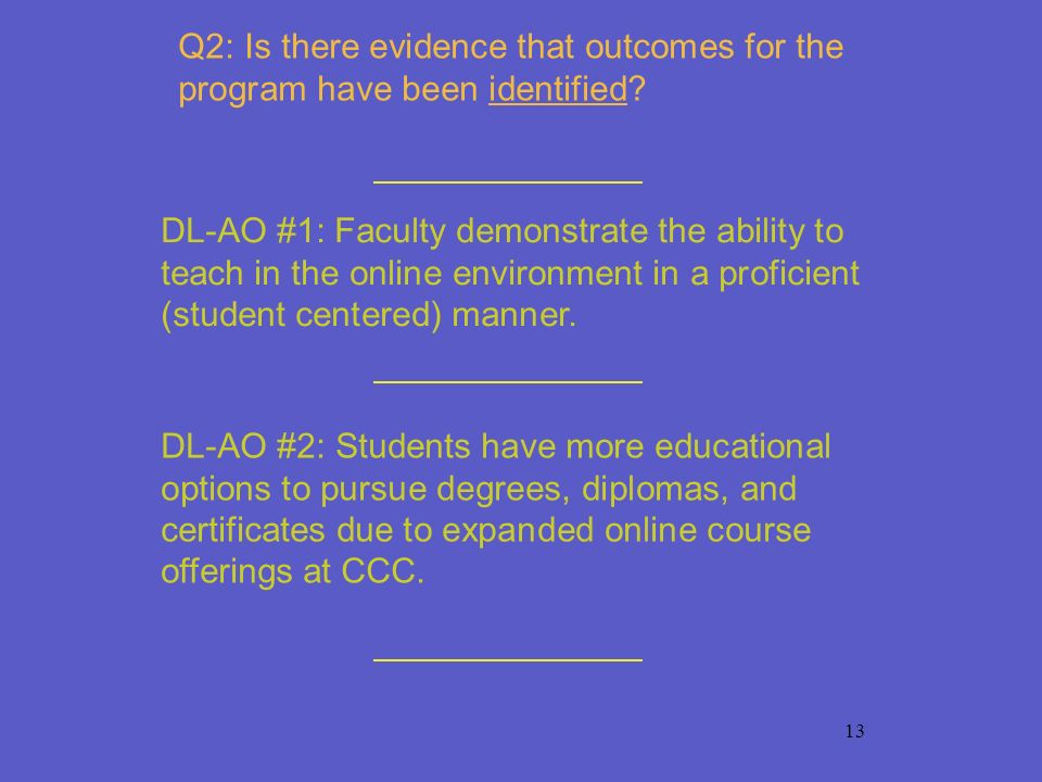 13 Q2: Is there evidence that outcomes for the program have been identified? DL-AO #1: Faculty demonstrate the ability to teach in the online environm
