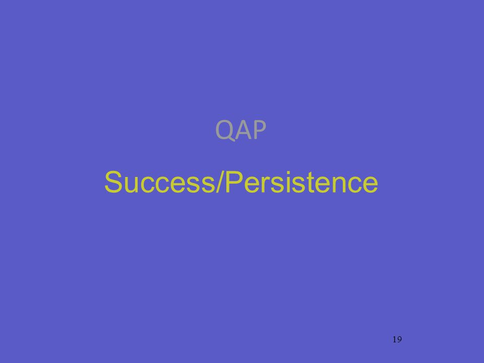 19 QAP Success/Persistence