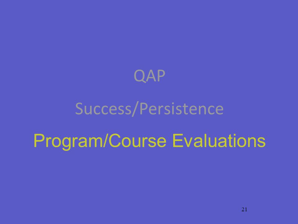 21 QAP Success/Persistence Program/Course Evaluations