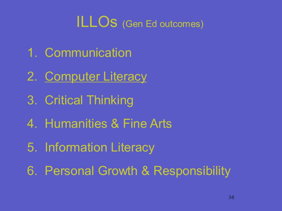 36 ILLOs (Gen Ed outcomes) 1. Communication 2. Computer Literacy 3. Critical Thinking 4. Humanities & Fine Arts 5. Information Literacy 6. Personal Gr