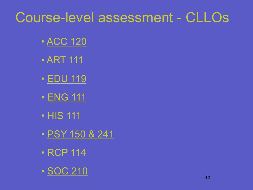48 Course-level assessment - CLLOs ACC 120 ART 111 EDU 119 ENG 111 HIS 111 PSY 150 & 241 RCP 114 SOC