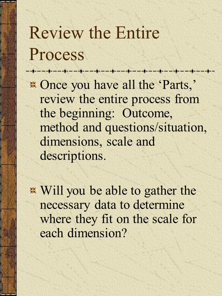 Review the Entire Process Once you have all the Parts, review the entire process from the beginning: Outcome, method and questions/situation, dimensio