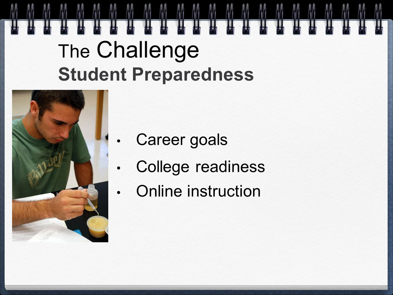 The Challenge Student Preparedness Career goals College readiness Online instruction