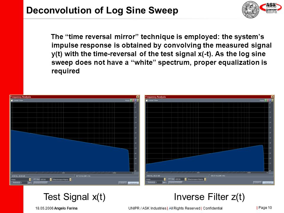 | Page 9 18.05.2006 Angelo Farina UNIPR / ASK Industries | All Rights Reserved | Confidential Test signal: Log Sine Sweep x(t) is a sine signal, which