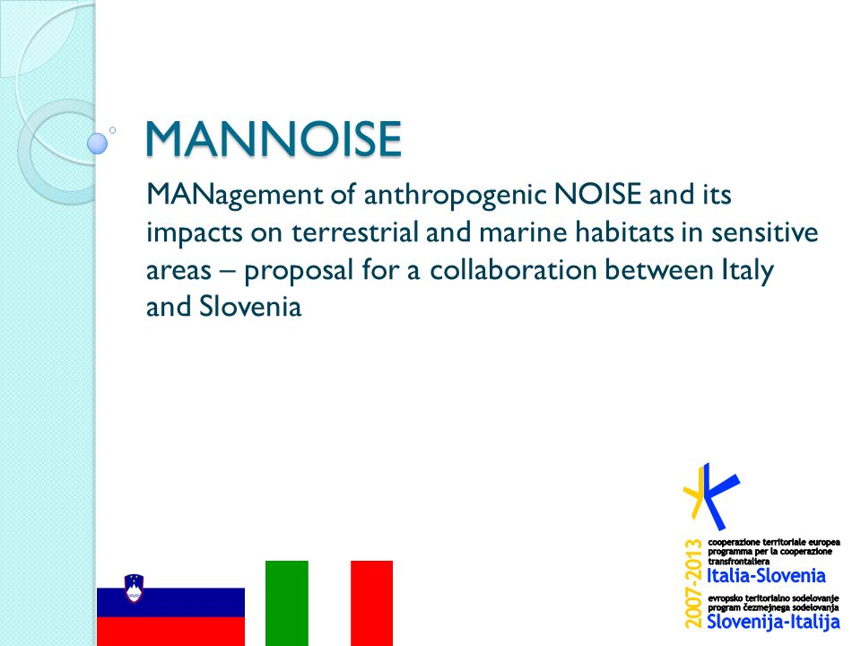 MANNOISE MANagement of anthropogenic NOISE and its impacts on terrestrial and marine habitats in sensitive areas – proposal for a collaboration between Italy and Slovenia