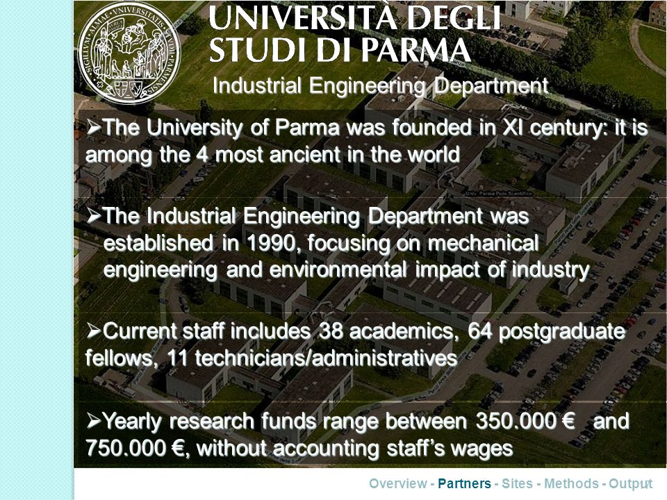17 Industrial Engineering Department The University of Parma was founded in XI century: it is among the 4 most ancient in the world The University of Parma was founded in XI century: it is among the 4 most ancient in the world The Industrial Engineering Department was established in 1990, focusing on mechanical engineering and environmental impact of industry The Industrial Engineering Department was established in 1990, focusing on mechanical engineering and environmental impact of industry Current staff includes 38 academics, 64 postgraduate fellows, 11 technicians/administratives Current staff includes 38 academics, 64 postgraduate fellows, 11 technicians/administratives Yearly research funds range between 350.000 and 750.000, without accounting staffs wages Yearly research funds range between 350.000 and 750.000, without accounting staffs wages
