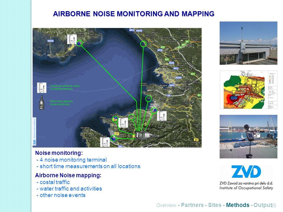 Overview - Partners - Sites - Methods - Output 25 Noise monitoring: - 4 noise monitoring terminal - short time measurements on all locations Airborne Noise mapping: - costal traffic - water traffic and activities - other noise events AIRBORNE NOISE MONITORING AND MAPPING