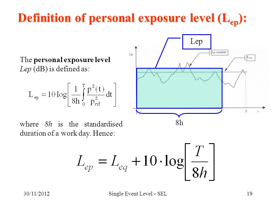30/11/2012Single Event Level - SEL19 Definition of personal exposure level (L ep ): The personal exposure level Lep (dB) is defined as: where 8h is the standardised duration of a work day.
