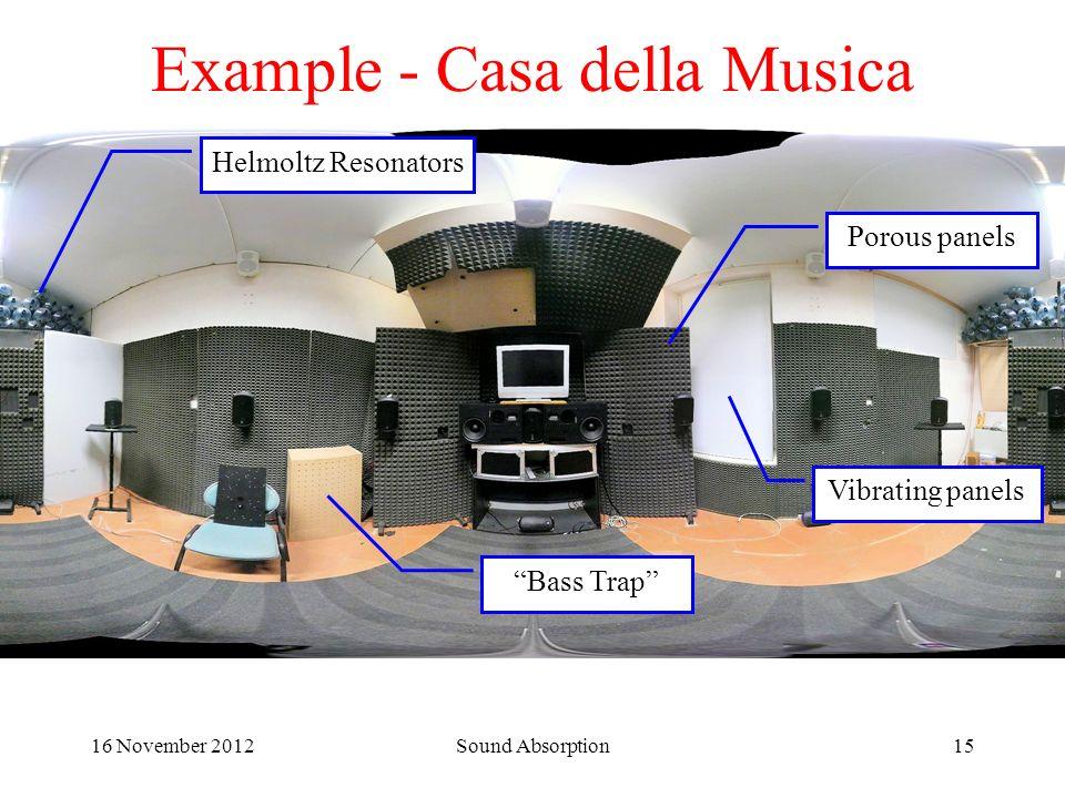 16 November 2012Sound Absorption15 Example - Casa della Musica Porous panels Bass Trap Helmoltz Resonators Vibrating panels