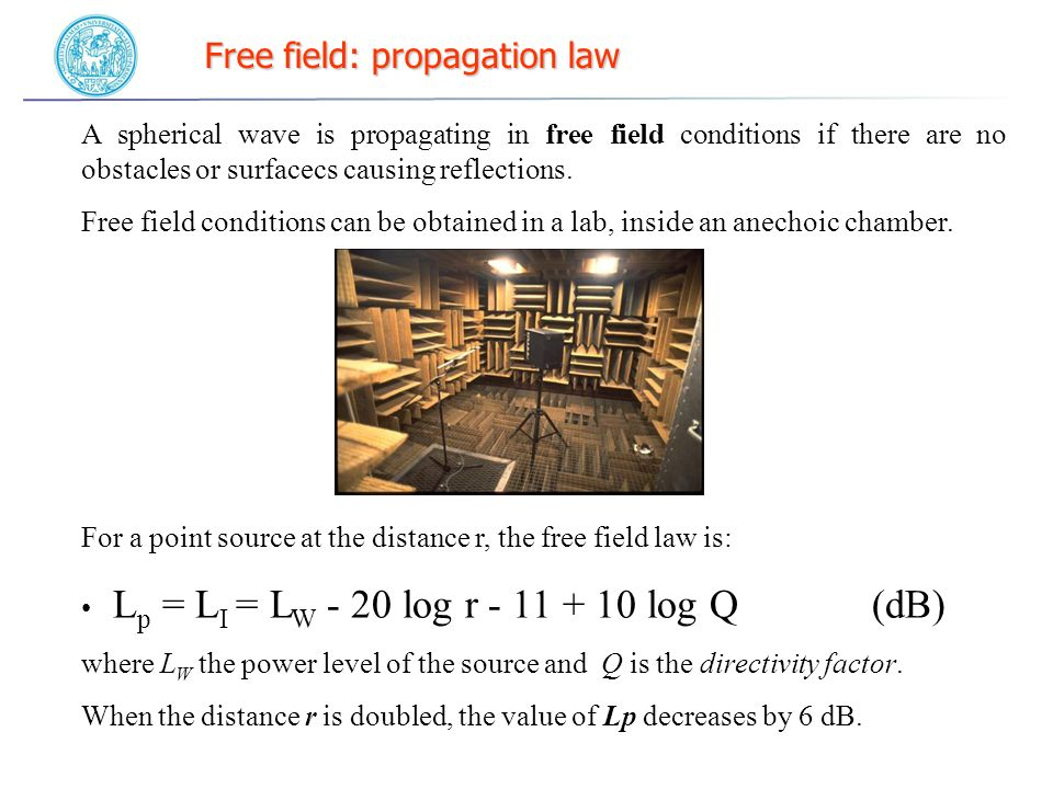 Free field: propagation law A spherical wave is propagating in free field conditions if there are no obstacles or surfacecs causing reflections.