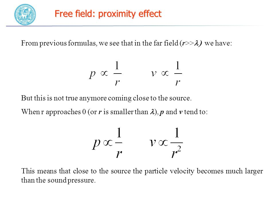 Free field: proximity effect From previous formulas, we see that in the far field (r>> we have: But this is not true anymore coming close to the source.