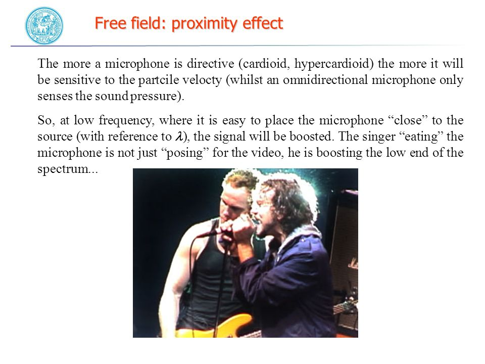 Free field: proximity effect The more a microphone is directive (cardioid, hypercardioid) the more it will be sensitive to the partcile velocty (whilst an omnidirectional microphone only senses the sound pressure).