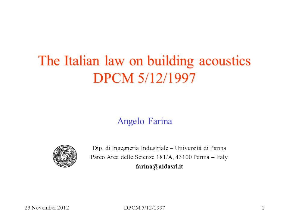 23 November 2012DPCM 5/12/199712 Facade Sound Insulation (6):