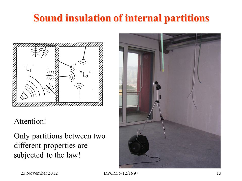 23 November 2012DPCM 5/12/ Sound insulation of internal partitions Attention.