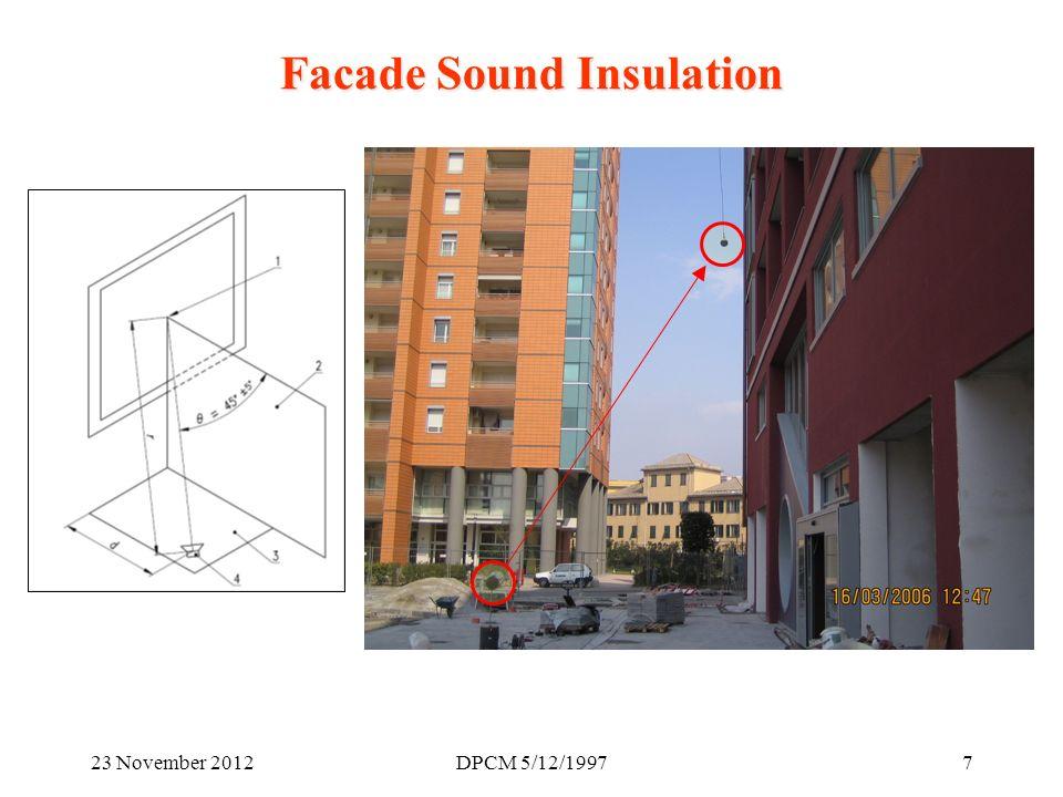 23 November 2012DPCM 5/12/19978 Facade Sound Insulation (2): D.P.C.M.