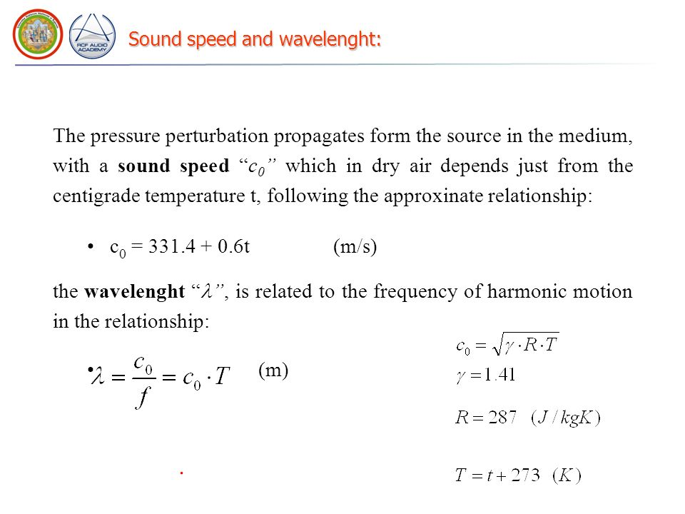 Sound speed and wavelenght: The pressure perturbation propagates form the source in the medium, with a sound speed c 0 which in dry air depends just f