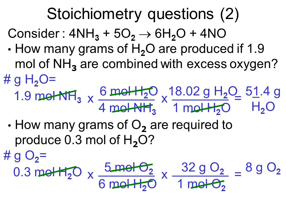 Consider : 4NH 3 + 5O 2 6H 2 O + 4NO How many grams of H 2 O are produced if 1.9 mol of NH 3 are combined with excess oxygen? How many grams of O 2 ar