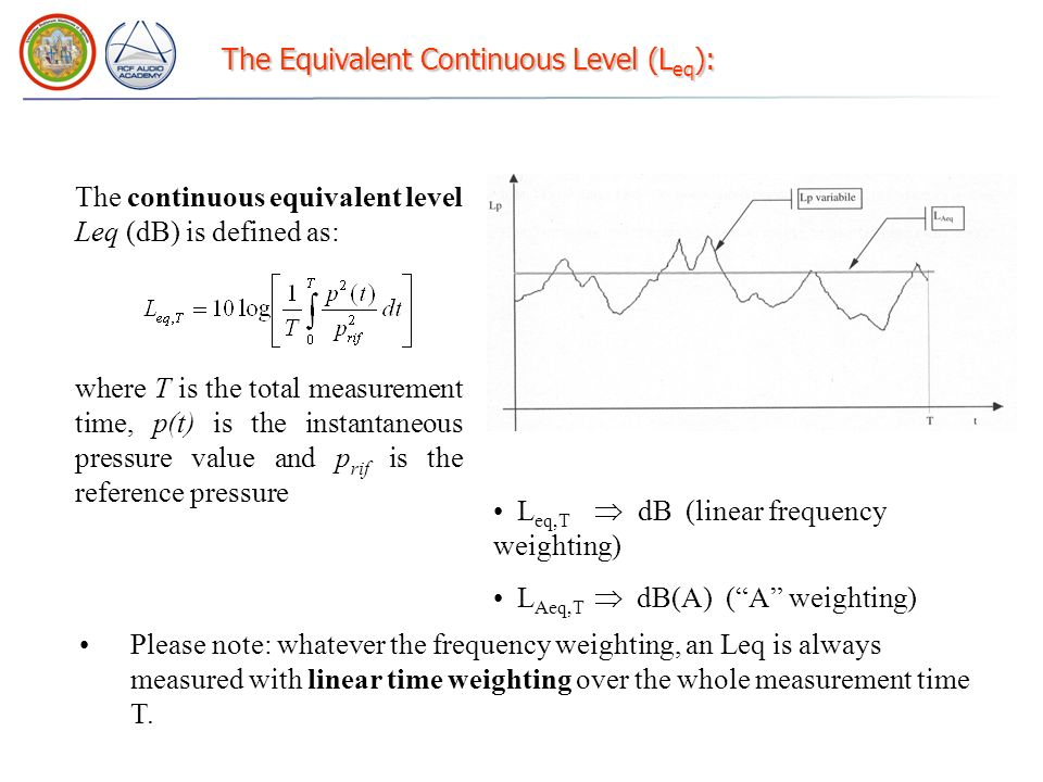 The Equivalent Continuous Level (L eq ): The continuous equivalent level Leq (dB) is defined as: where T is the total measurement time, p(t) is the in