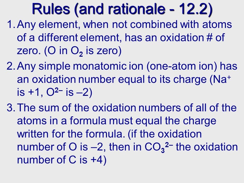 Oxidation numbers We will see that there is a simple way to keep track of oxidation and reduction This is done via oxidation numbers An oxidation number is the charge an atom would have if electrons in its bonds belonged completely to the more electronegative atom E.g.