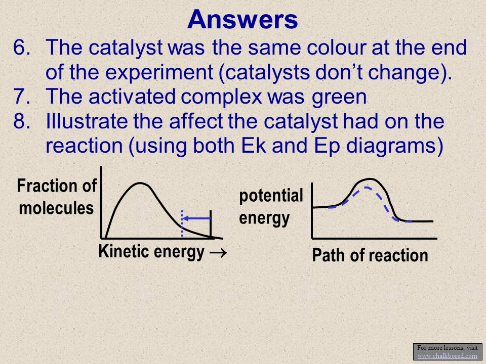 Answers 6.The catalyst was the same colour at the end of the experiment (catalysts dont change).