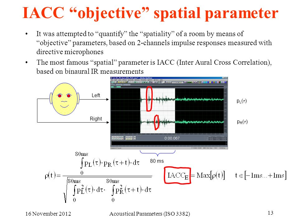 16 November 2012Acoustical Parameters (ISO 3382) 13 IACC objective spatial parameter It was attempted to quantify the spatiality of a room by means of