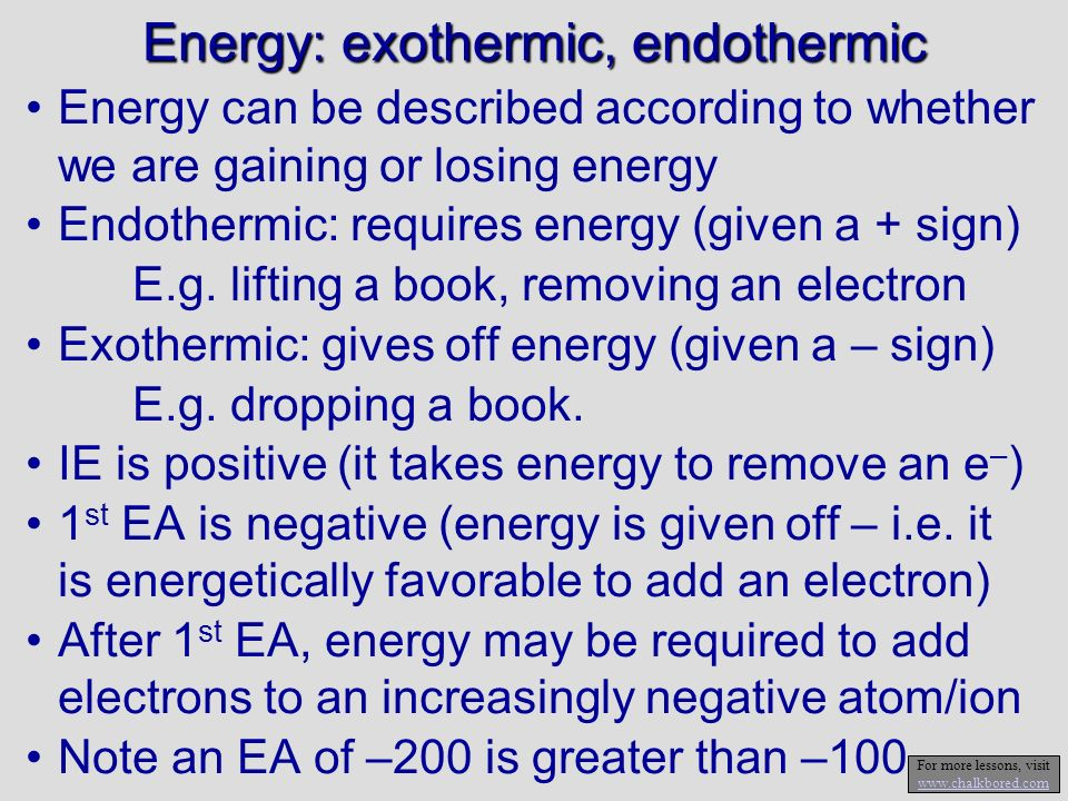Trends in Size, IE, and EA – add to slide 1 IE, and EA are the opposite of atomic radius Larger Size Ionization energy Larger Electron Affinity