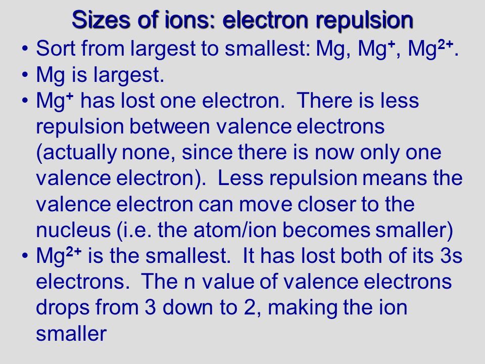Sizes of ions: electron repulsion Sort from largest to smallest: Mg, Mg +, Mg 2+.