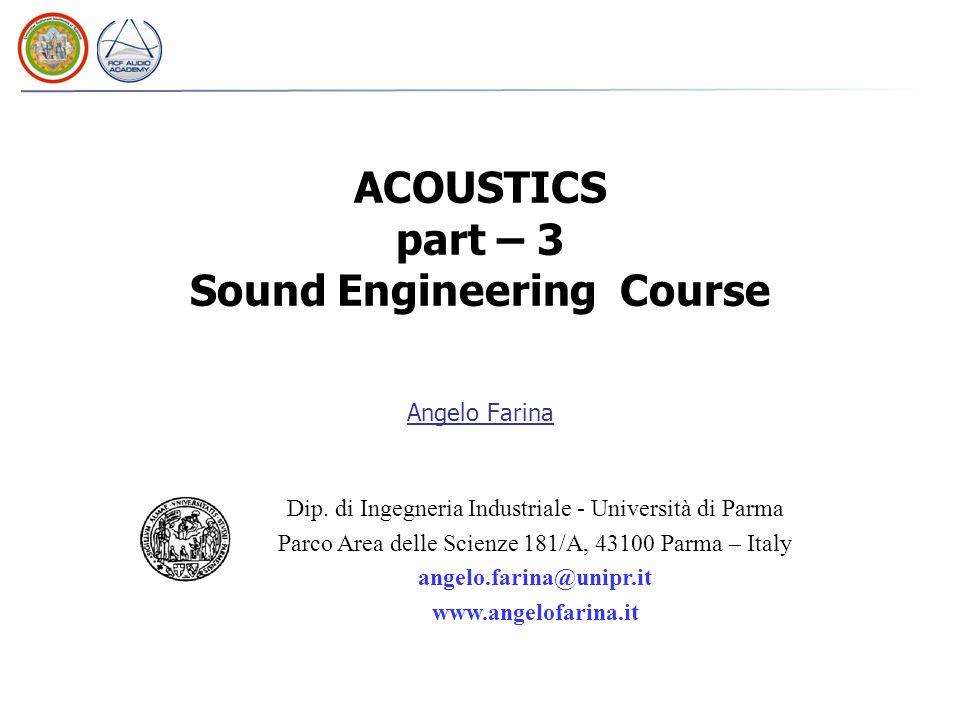 Angelo Farina Dip. di Ingegneria Industriale - Università di Parma Parco Area delle Scienze 181/A, 43100 Parma – Italy angelo.farina@unipr.it www.ange
