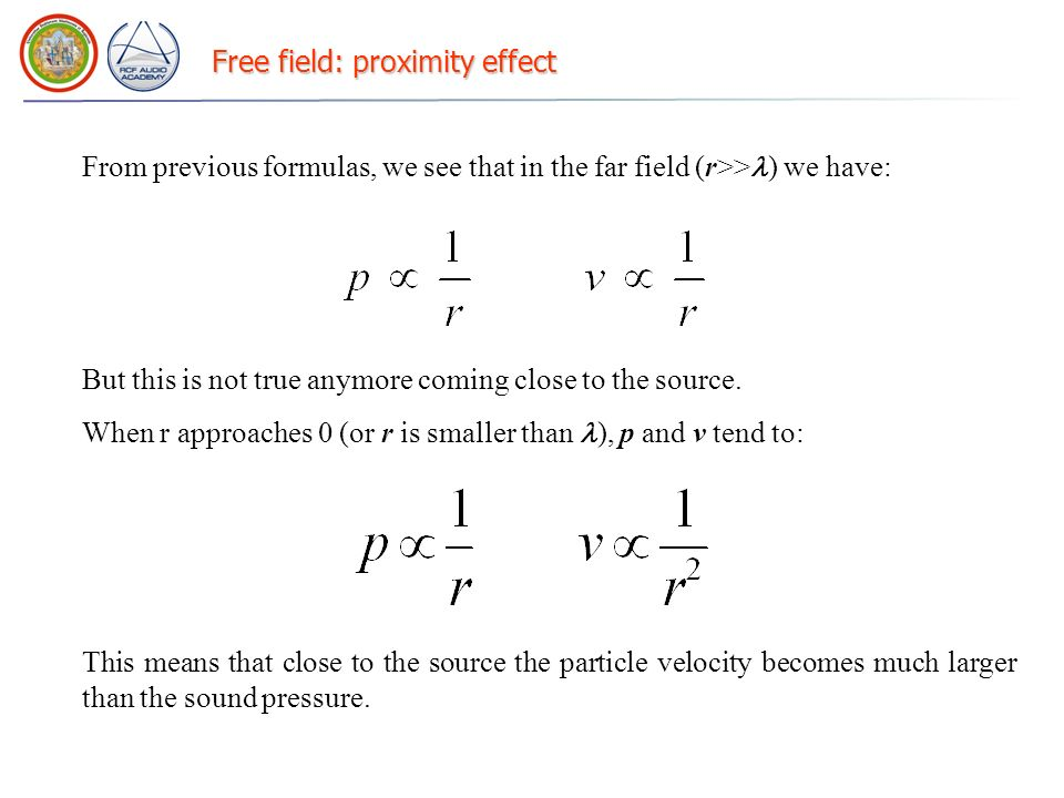Free field: proximity effect From previous formulas, we see that in the far field (r>> ) we have: But this is not true anymore coming close to the sou