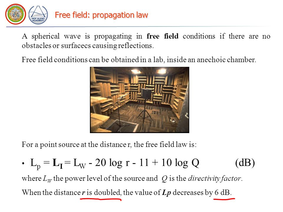 Free field: propagation law A spherical wave is propagating in free field conditions if there are no obstacles or surfacecs causing reflections. Free