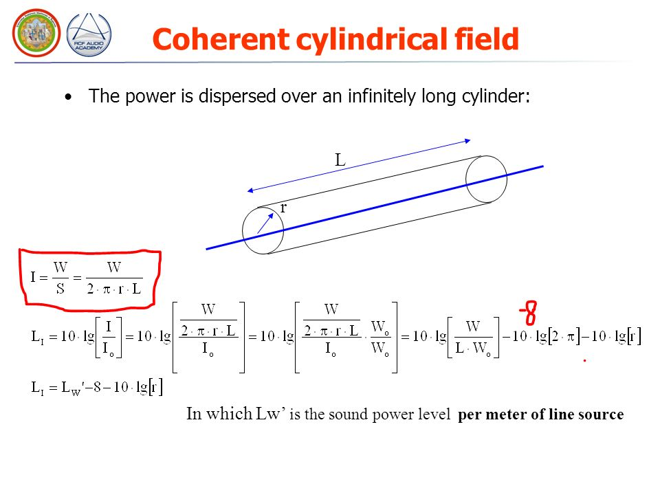 Coherent cylindrical field The power is dispersed over an infinitely long cylinder: r L In which Lw is the sound power level per meter of line source