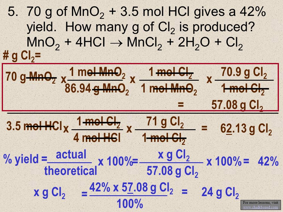 4.4FeS 2 + 11O 2 2Fe 2 O 3 + 8SO 2 If 300 g of FeS 2 is burned in 200 g of O 2, 143 g Fe 2 O 3 results. % yield Fe 2 O 3 ? First, determine limiting r