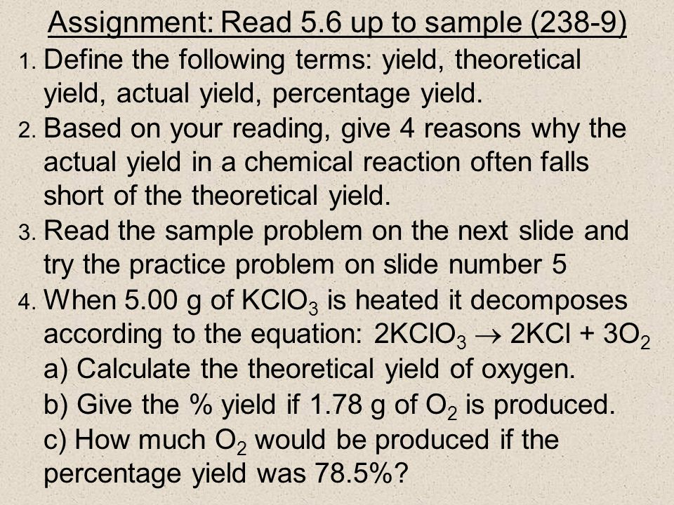 Assignment: Read 5.6 up to sample (238-9) 1.