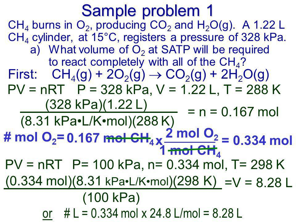 Sample problem 1 CH 4 burns in O 2, producing CO 2 and H 2 O(g).