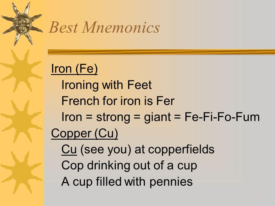 Best Mnemonics Sodium (Na) Salt? Bad for BP (Na, dont want it) North Atlantic salt water Potassium (K) Potatoes covered in ketchup Koala (or kangaroo)